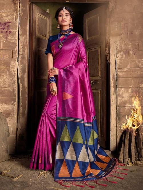 Magenta Cotton Silk Saree For Wedding