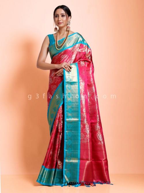 Magenta Designer Kanjivaram Silk Designer Saree