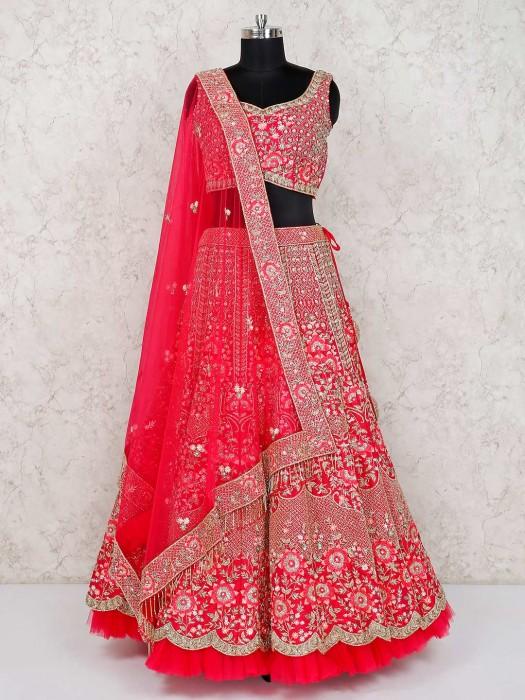 Magenta Designer Silk Bridal Wear Lehenga Choli