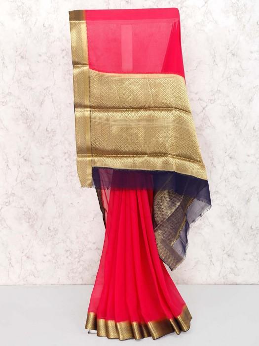 Magenta Hue Festive Wear Pretty Saree
