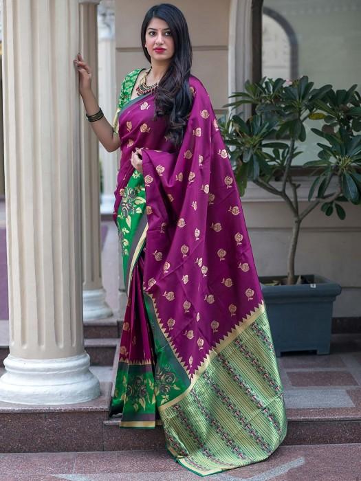 Purple Hue Saree In Banarasi Silk