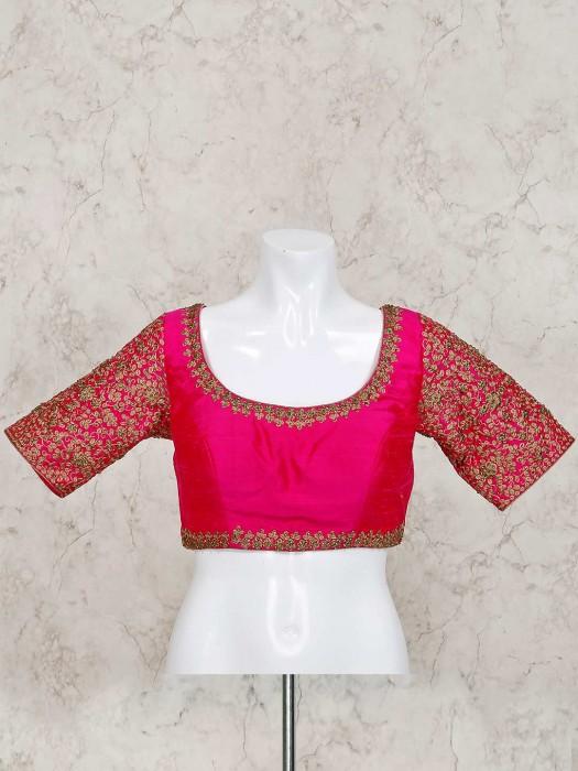 Magenta Raw Silk Ready Made Designer Blouse