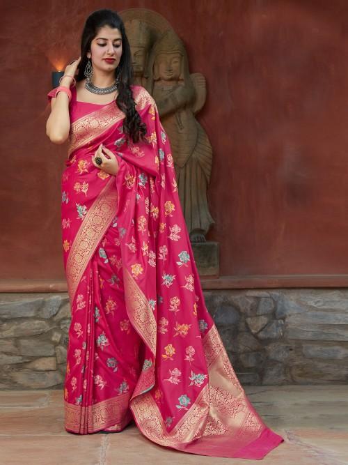 Magenta Saree In Banarasi Silk