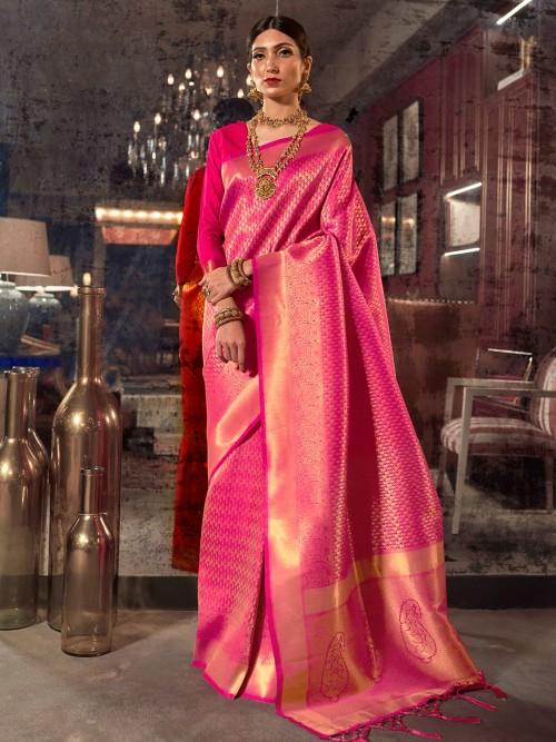 Magenta Saree In Kanjivaram Silk