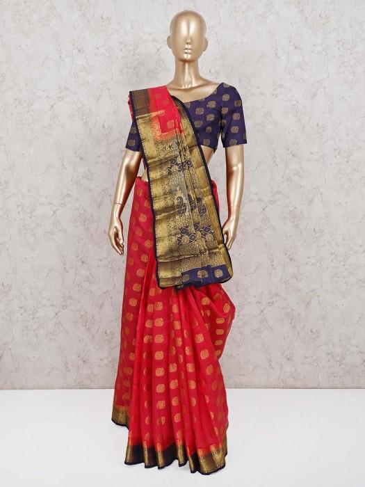 Magenta Saree In Semi Cotton Silk With Zari Weaving