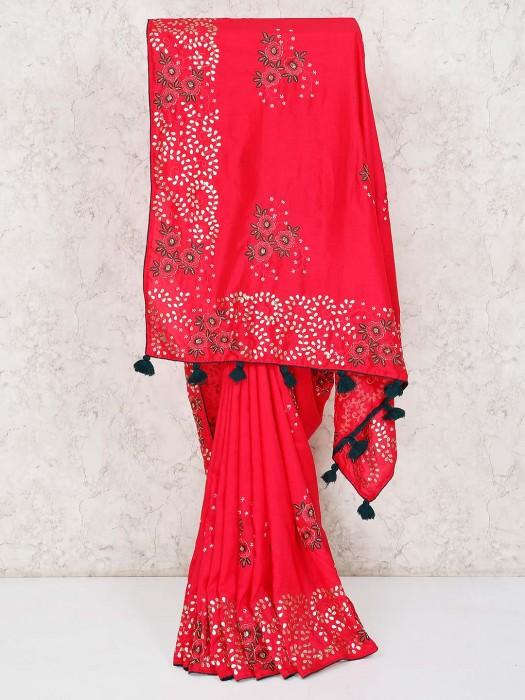 Magenta Semi Silk Saree For Wedding