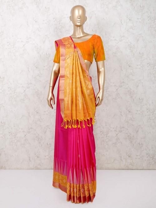 Magenta South Silk Saree With Yellow Palla