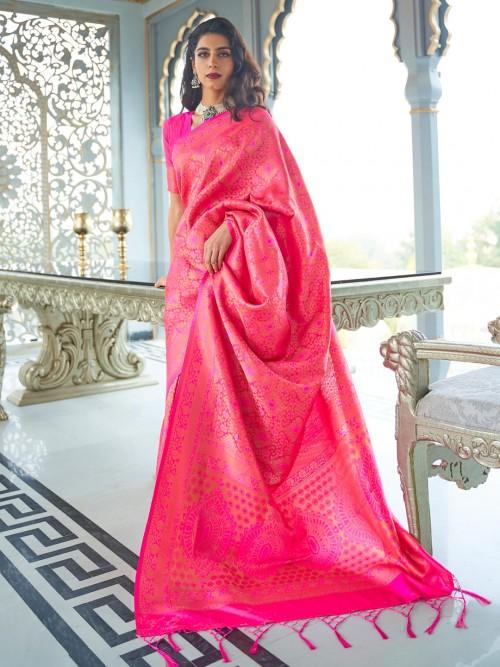 Magenta Wedding Special Semi Banarasi Silk