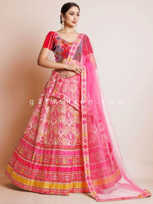 Magenta Wedding Wear Unstitched Lehenga In Print