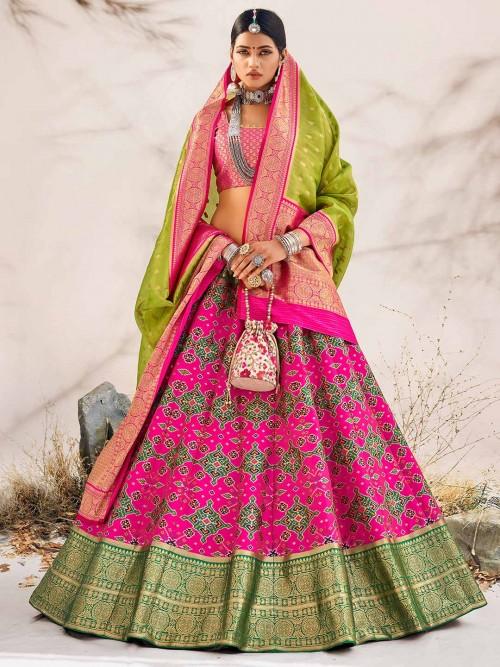 Magenta Wedding Wear Unstitched Patola Silk Lehenga