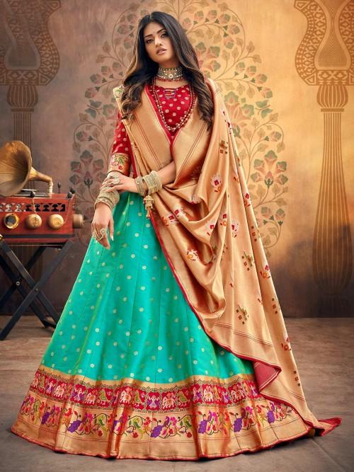 Maroon And Aqua Party Wear Semi Stitched Choli Suit In Banarasi Silk