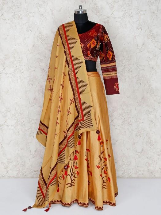 Maroon And Beige Wedding Lehenga Choli In Cotton Silk