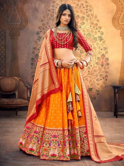 Maroon And Mustard Yellow Semi Stitched Banarasi Silk Lehenga Choli