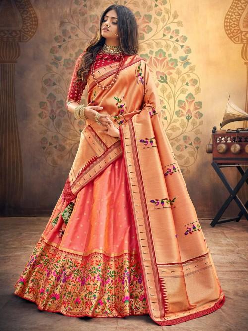 Maroon And Peach Dhupchhav Banarasi Silk Semi Stitched Lehenga Choli