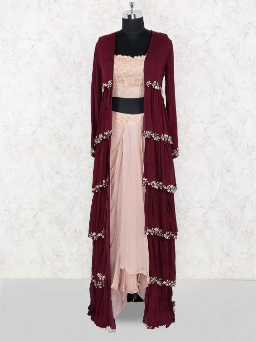 Maroon And Peach Jacket Style Tissue Silk Indo Western Salwar Suit
