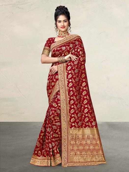 Maroon Banarasi Silk Wedding Saree