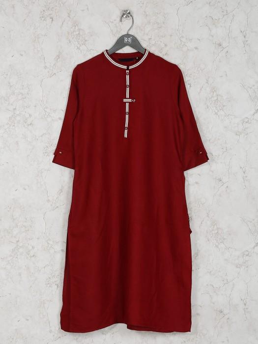 Maroon Color Casual Wear Cotton Kurti