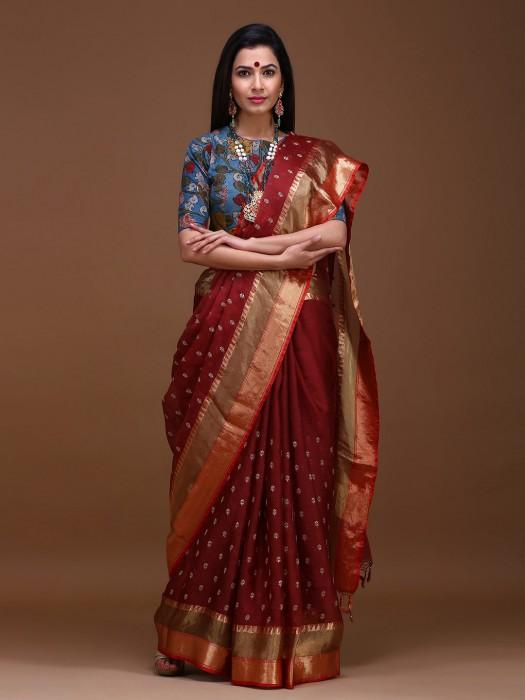 Maroon Color Wedding Pure Silk Saree