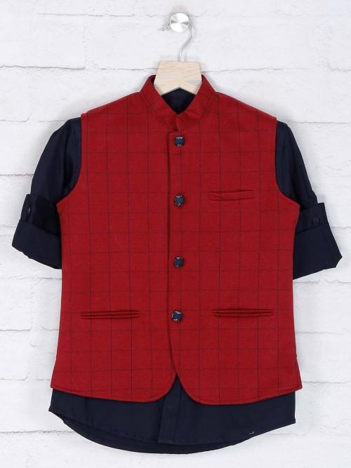 Maroon Colored Cotton Fabric Waistcoat