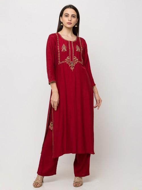 Maroon Cotton Casual Punjabi Pant Suit