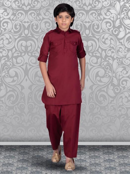 Maroon Cotton Festive Pathani Suit
