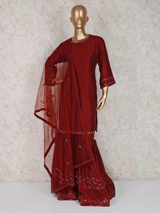 Maroon Cotton Silk Designer Punjabi Sharara Suit