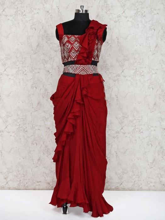 Maroon Designer Indo Western Georgette Lehenga Suit