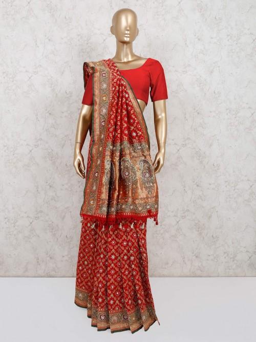 Maroon Designer Pure Banarasi Silk Saree For Wedding Functions