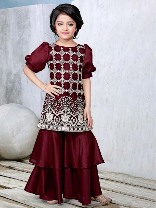 Maroon Designer Sharara Suit In Cotton Silk