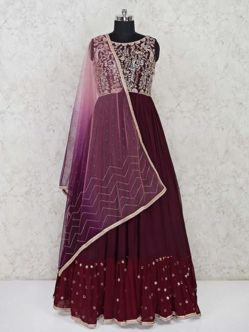 Maroon Georgette Floor Length Designer Gown