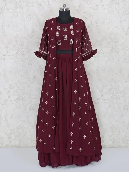 Maroon Georgette Jacket Style Lehenga Choli