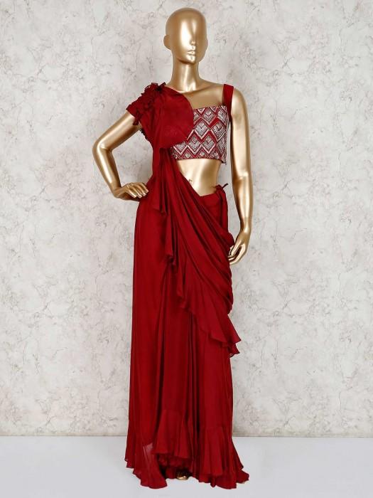 Maroon Georgette Party Wear Indo Western Lehenga Suit