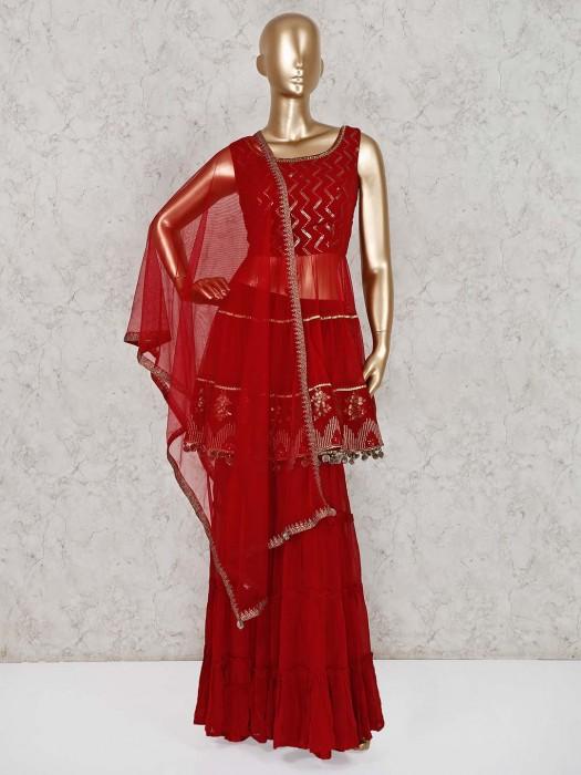 Maroon Georgette Wedding Wear Sharara Suit