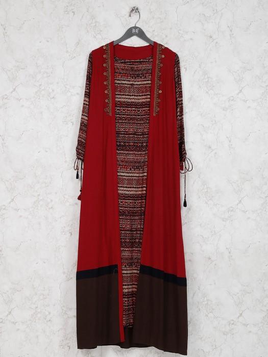 Maroon Hue Cotton Fabric Jacket Style Pretty Kurti