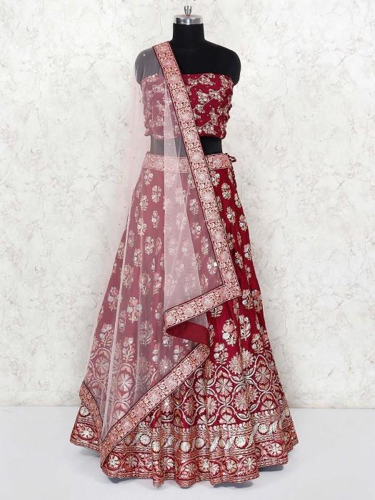 Maroon Hue Lovely Silk Wedding Lehenga Choli