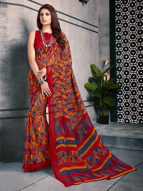 Maroon Printed Sari In Georgette