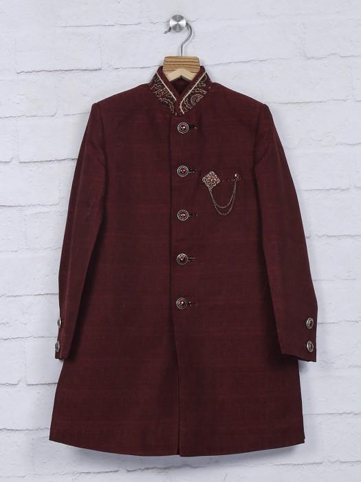 Maroon Raw Silk Wedding Wear Indo Western