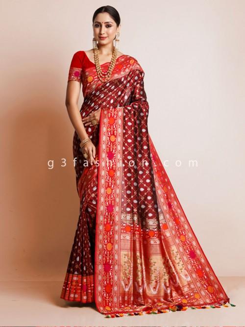 Maroon Wedding Sari In Banarasi Silk