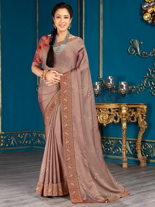 Marvellous Purple Chiffon Saree For Festive Look