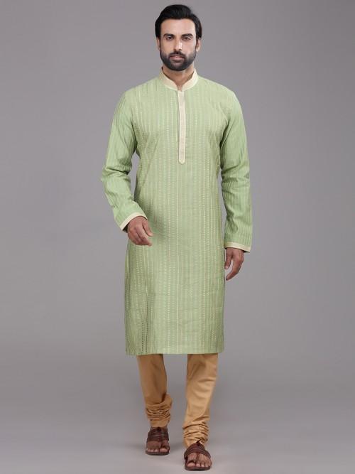 Pista Green Chanderi Silk Kurta Suits