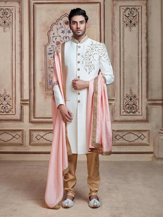 Mens Off White Indo Western In Silk