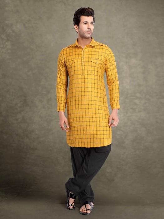 Mens Yellow Cotton Checks Pathani Suit