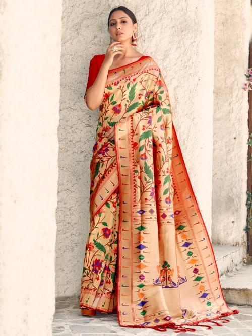 Minakari Beige Semi Banarasi Silk Paithani Saree