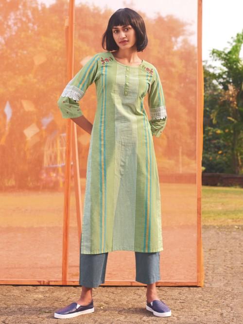 Mint Green Cotton Kurti In Stripes Pattern