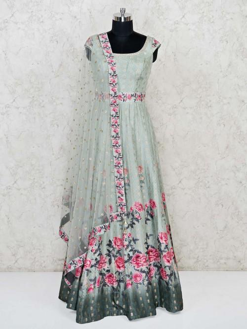 Mint Green Wedding Anarkali Suit In Cotton Silk