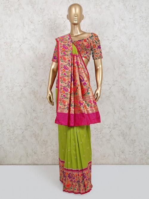 Modern Banarasi Silk Saree In Green Color