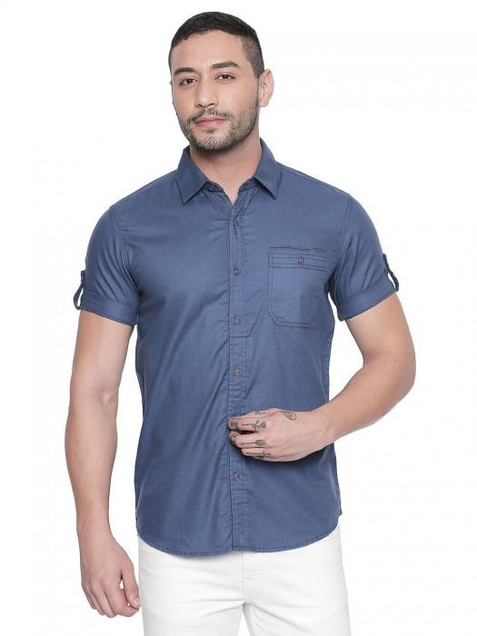 Mufti Cotton Blue Slim Fit Shirt