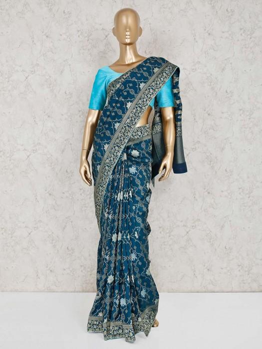 Muga Silk Blue Saree