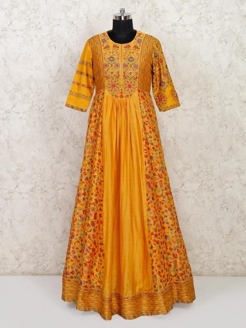 Mustard Anarkali Suit In Cotton For Wedding