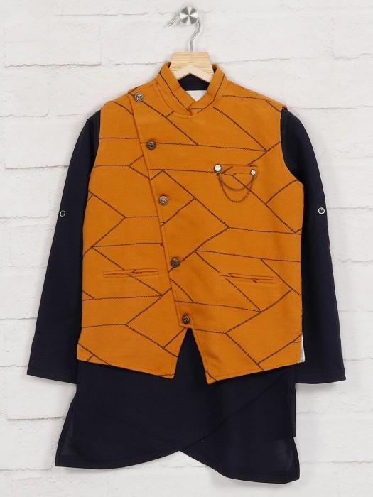 Mustard Navy Printed Waistcoat Shirt